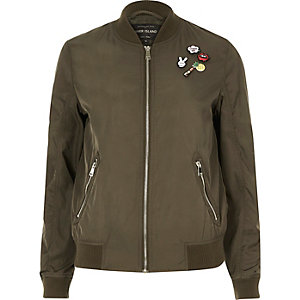 Khaki pin badge bomber jacket