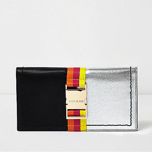 Black mixed panel foldout purse
