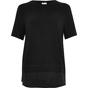 Black satin hem layered T-shirt