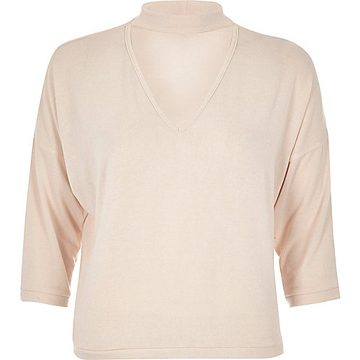 Nude seam detail boxy top