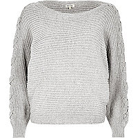 Grey knit tie sleeve grazer jumper