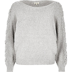 Grey knit tie sleeve grazer sweater