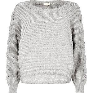 Grey knit tie sleeve grazer sweater