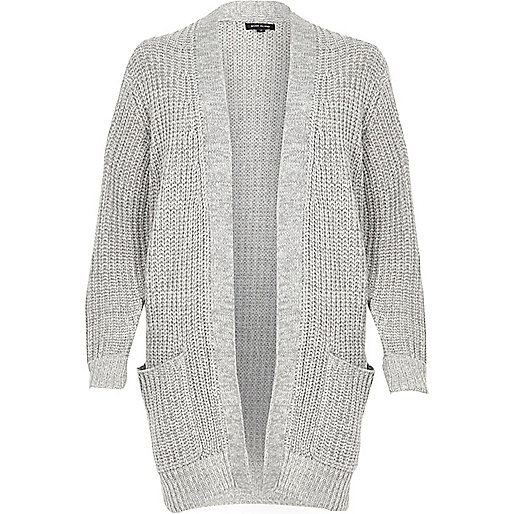 Grey oversized chunky knit cardigan