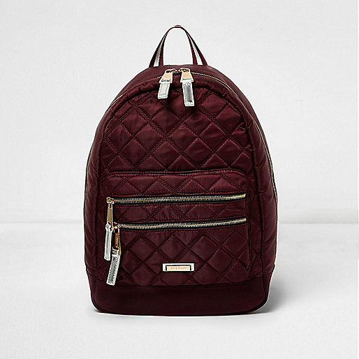 Burgundy quilted backpack
