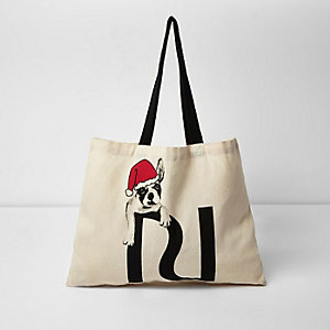 Santa bulldog print shopper bag