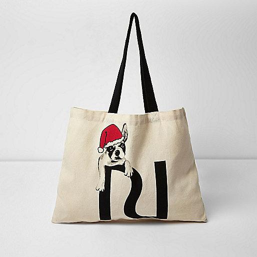 Santa bulldog print shopper bag