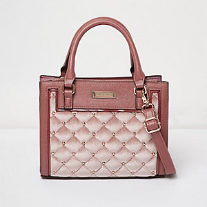 Pink quilted velvet panel tote handbag