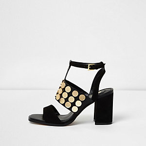 Black stud strappy block heel sandals