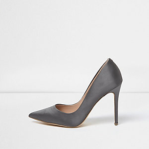 Grey satin court shoes