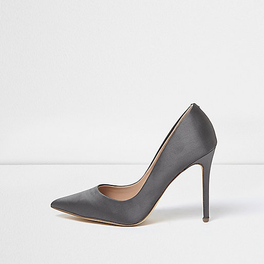 Grey satin court shoes