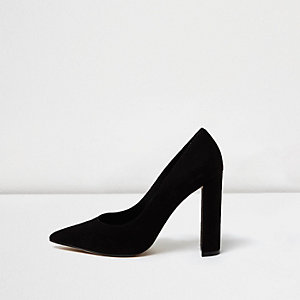 Black faux suede block heel pumps