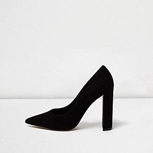 Black faux suede block heel court shoes