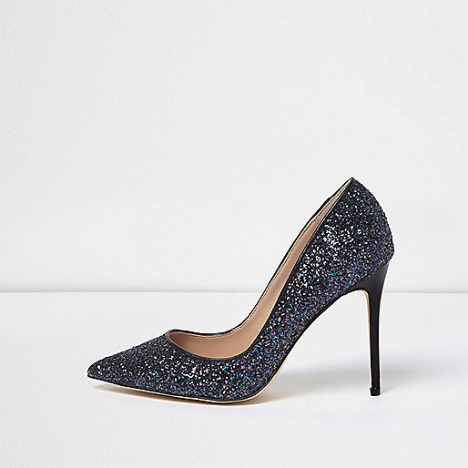 Navy glitter court shoes