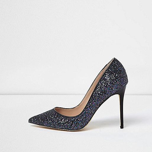 Navy glitter court heels