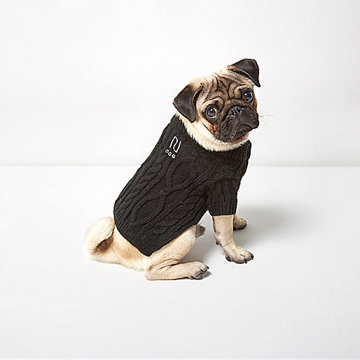 Black RI Dog cable knit jumper
