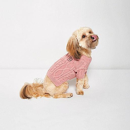 Pull RI Dog en maille torsadée rose