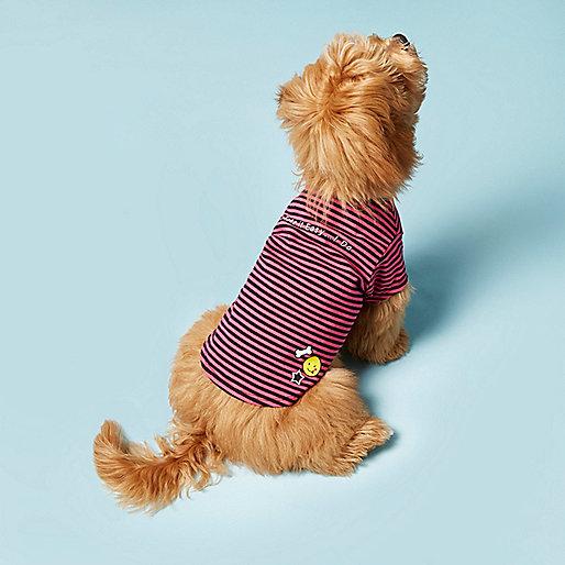 Pink RI Dog stripe print T-shirt