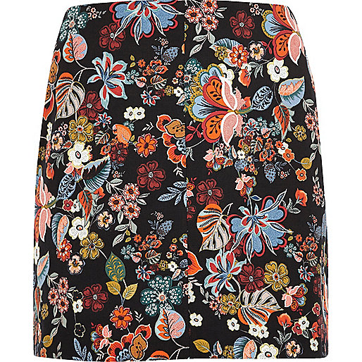 RI Plus red floral print mini skirt