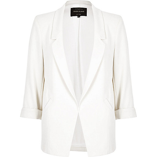 White roll sleeve blazer