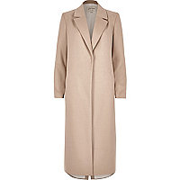Blush pink tailored duster overcoat