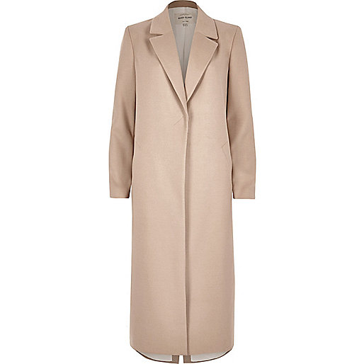 Beige long sleeve longline coat