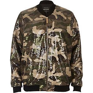 Khaki sequin camo bomber jacket