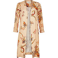 Cream print duster jacket