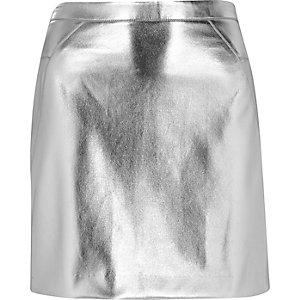 Silver mini skirt