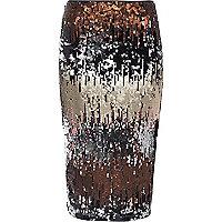 Silver metallic sequin pencil skirt