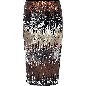 Jupe crayon à sequins argentée métallisée