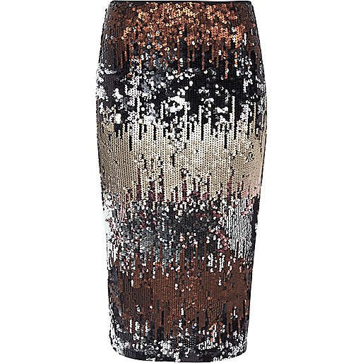 Silver metallic sequin pencil skirt