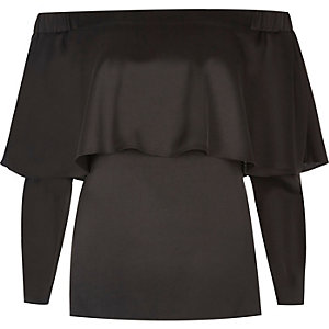Black deep frill bardot top