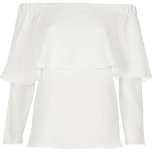 White deep frill bardot top