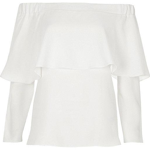 White deep frill bardot top