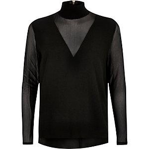 Black mesh sleeve high neck top