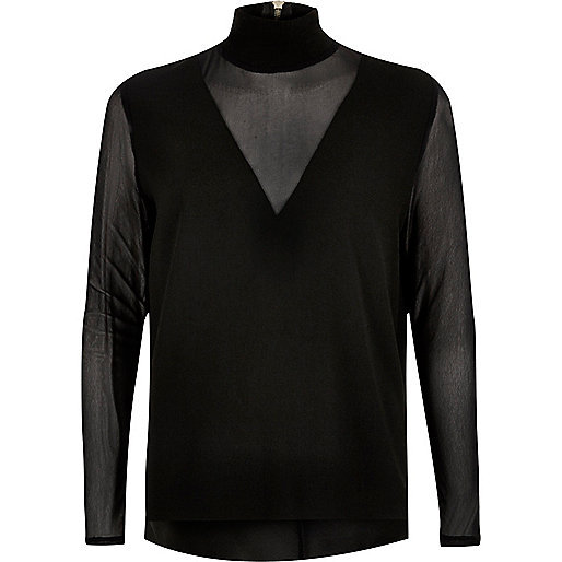 Black mesh sleeve high neck top
