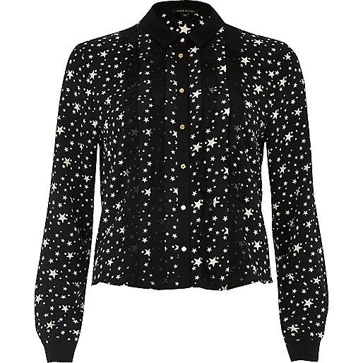 Schwarzes Hemd mit Sternmuster und Rüschen
