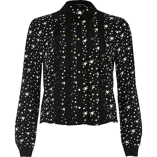 Black star print frill front shirt