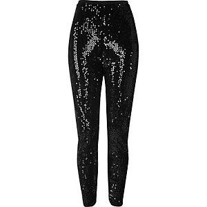 Black sequin high rise leggings