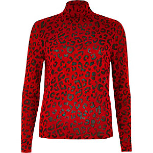 Red leopard print turtleneck top