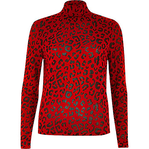 Red leopard print roll neck top