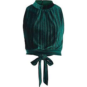 Dark green pleated velvet crop top