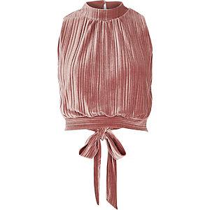 Pink pleated velvet crop top