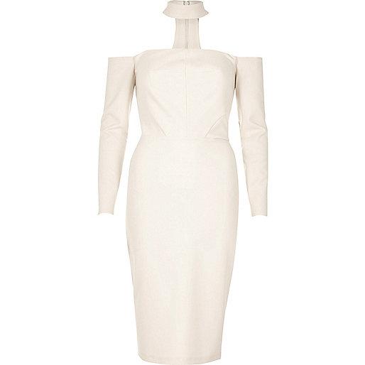Cream choker bardot bodycon dress