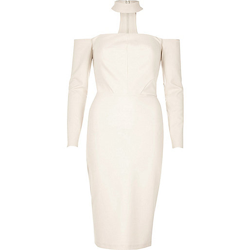 Cream choker bardot bodycon dress