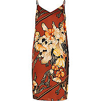 Rust print midi slip dress