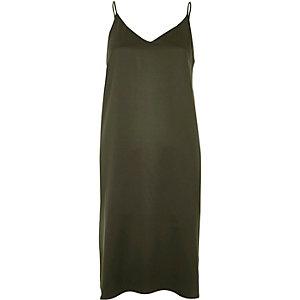 Khaki midi slip dress