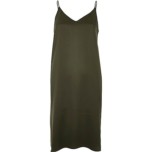 Khaki midi slip dress