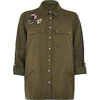 Hemdjacke mit Aufnähern in Khaki